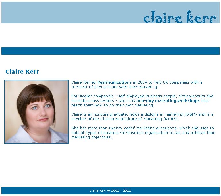 Old clairekerr.com website